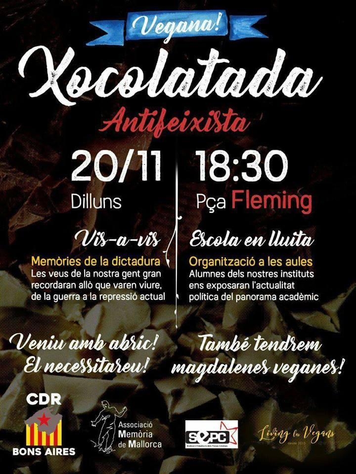 Xocolatada vegana antifeixista (avui!)